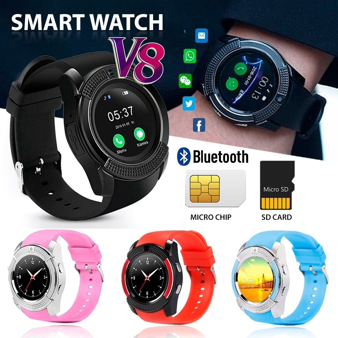 4cd5640da65 ... WATCHRelogio Inteligente Smartwatch V8 Android Ios Bluetooth Chip. 🔍.  SMART WATCH